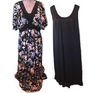 KIYONNA Maxi Dress with Slip Floral NWOT 2X 3X New